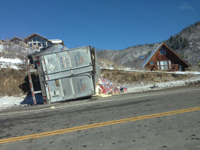A truck was involved in a rollover accident about noon today on Rabbit Ears Pass southeast of Steamboat Springs. Police scanner traffic indicated the driver of the truck was not injured, and the truck contained no hazardous chemicals.