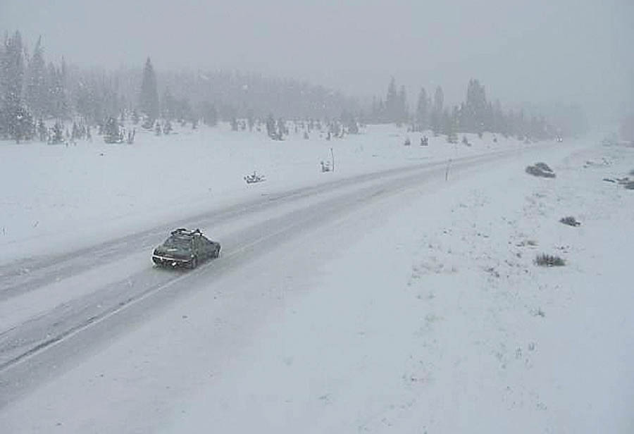 A camera shows road conditions Thursday afternoon on Rabbit Ears Pass.