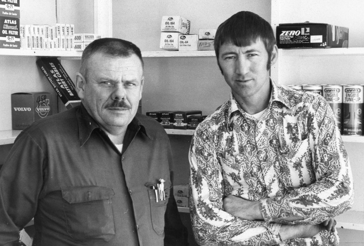 Valley Chevron Service Station owners, Ron Raschke (left) and Carl Chapman, pose inside their business at 317 W. Victory Way in 1976. The filling station was located where today's Lube Plus operates. The only full-service gas station remaining in Craig today is the Conoco Station located at 140 W. Victory Way.