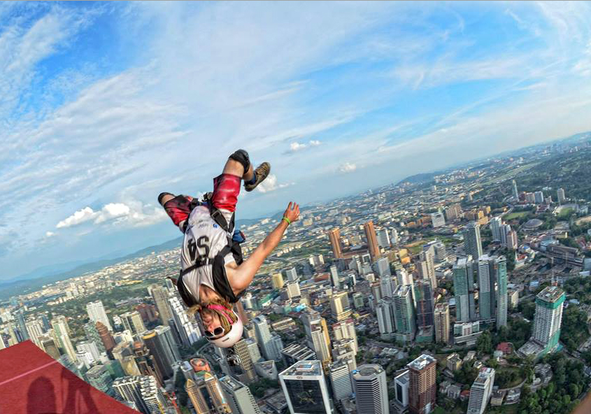 Steamboat Springs' Kerry Lofy leaps from the Kuala Lumpur Tower in Malaysia during a BASE jumping event. Lofy spent the fall touring the world and doing plenty of BASE jumping and wingsuit gliding in Europe and Asia.