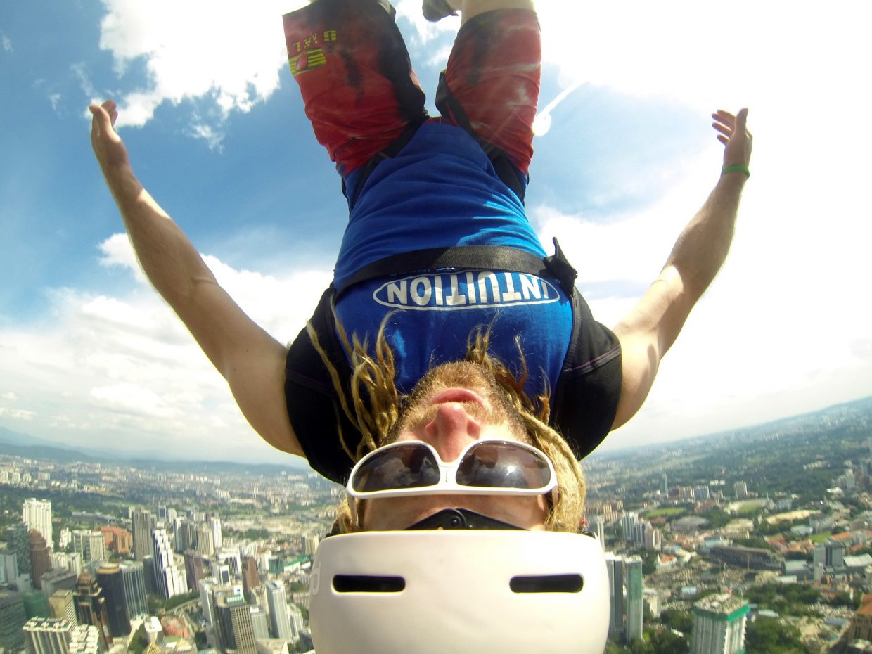 Kerry Lofy is head over heels after jumping from Kuala Lumpur Tower in Malaysia.