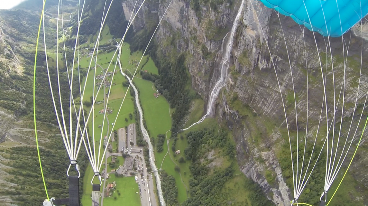 The view is amazing from above as Kerry Lofy floats to a touchdown in Switzerland.