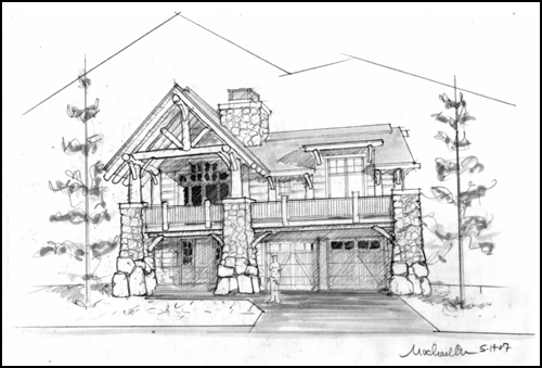 This sketch depicts one of three homes in The Range subdivision at Wildhorse Meadows that will be under construction in 2015.