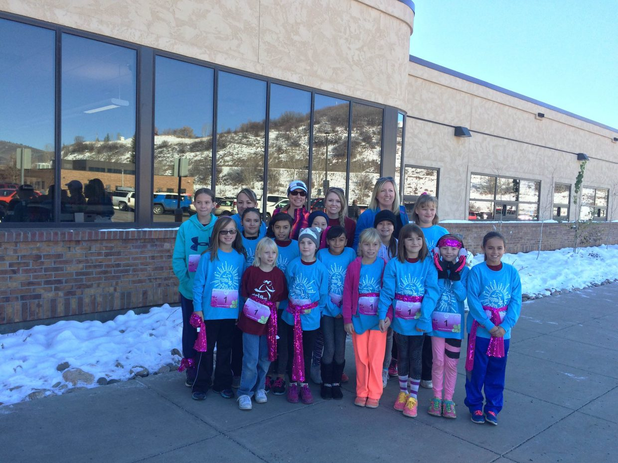 Runners and coaches from East Elementary School's Girls on the Run team gather before the non-competitive 5K race Saturday in Steamboat Springs. They were among 600 third- through fifth-grade girls from across Northwest Colorado to join the effort after spending the fall preparing for a lengthy run. GOTR focuses on building healthy body image and self-esteem for young female athletes.