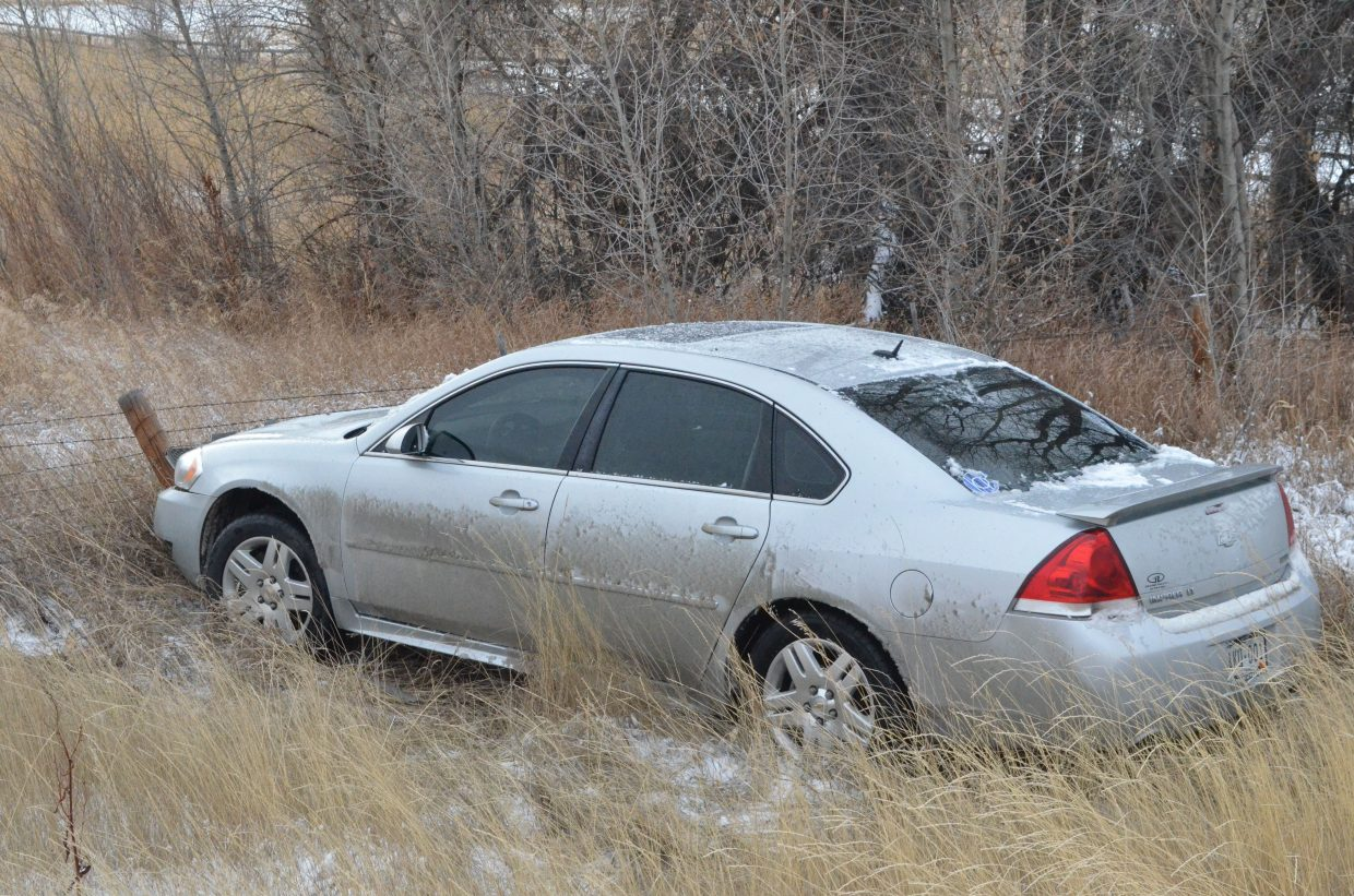 A Chevy Impala driven by a young female skidded off Highway 40 near Mile Marker 101 Thursday. There were no injuries in the accident.