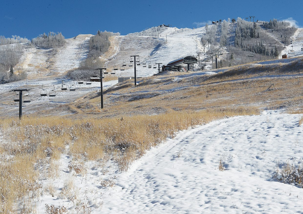 Steamboat Ski Area officials said Wednesday's opening day is still on schedule despite blue skies and warm temperatures this week. Long-range forecasts are calling for cooler temperatures that will aid in snowmaking.