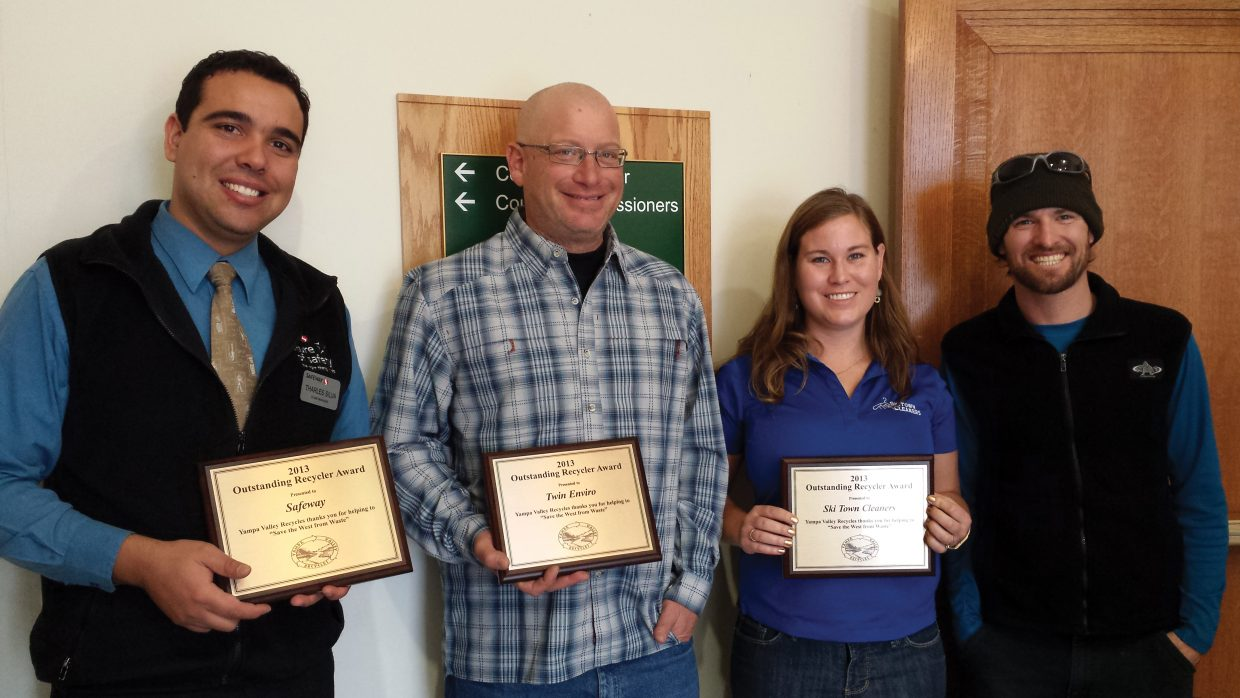 Yampa Valley Recycles has named its 2013 Outstanding Recycler award winners. Pictured from left are award winners Tharles Silva, regional manager of Safeway; David Epstein, manager of Twin Enviro; and Katherine George, owner of Ski Town Cleaners. Also pictured is Yampa Valley Recycles board liaison Garrett Smith.