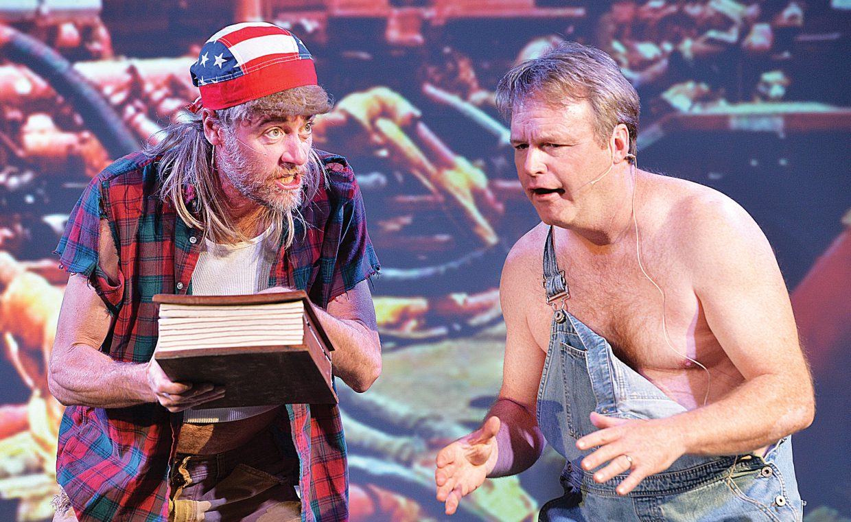 """Pirate Theatre performers Eric Leach and Brian Harvey rehearse a scene for """"Colorado Jones and The End of the 'Boat as We Know It."""" The comedy will have showings at 8 p.m. Thursday, Friday and Saturday at The Steamboat Grand Ballroom."""