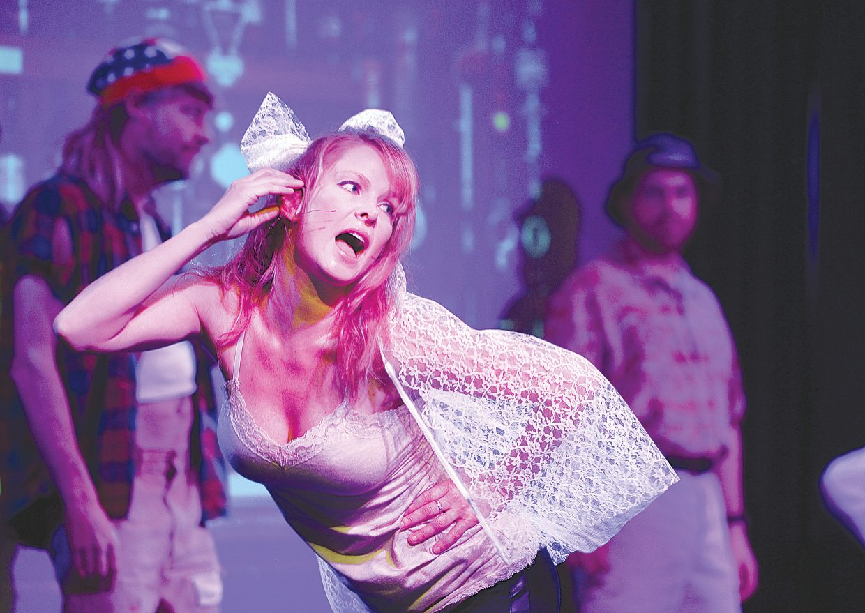 """Pirate Theatre performer Vanassa Brisow rehearse a scene for """"Colorado Jones and The End of the 'Boat as we Know It."""" The comedy will have showings at 8 p.m. Thursday, Friday and Saturday at The Steamboat Grand Ballroom."""