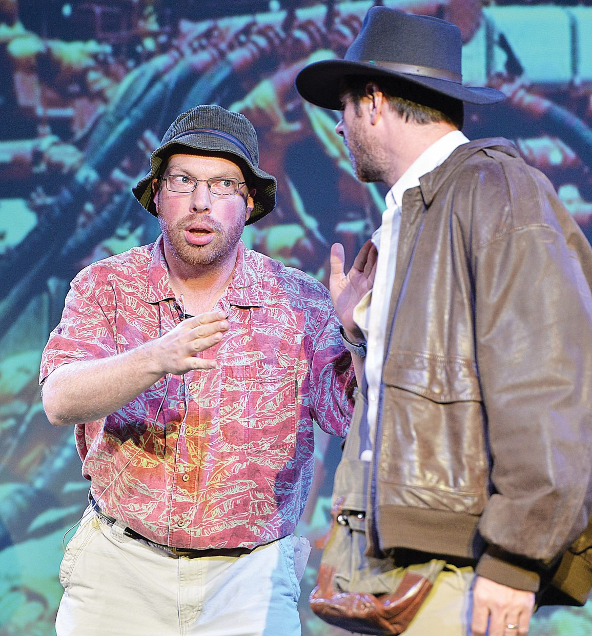 """Pirate Theatre performers Kirk Aigner and Kelly Anzalone (back to camera), rehearse a scene for the original """"Colorado Jones and The End of the 'Boat as We Know It."""""""