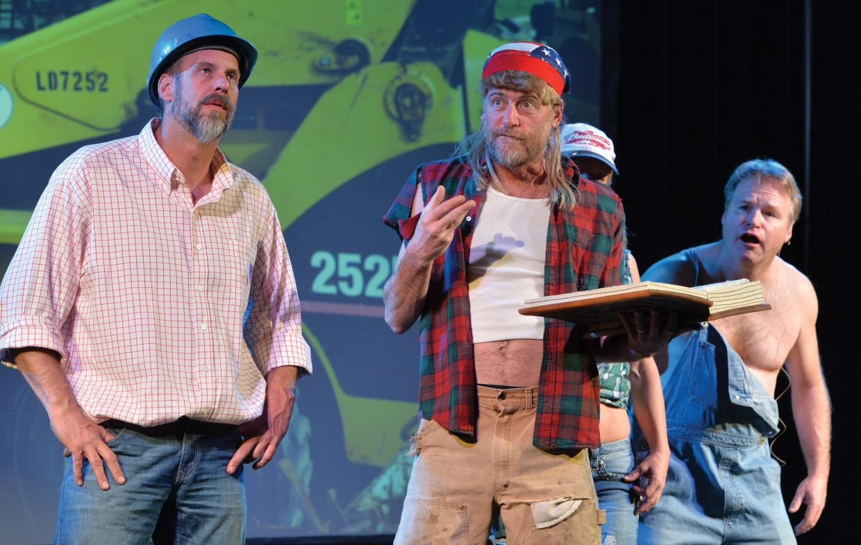 """Pirate Theatre performers Chad McGown, Eric Leach and Brian Harvey rehearse a scene for """"Colorado Jones and The End of the 'Boat as we Know It."""" The comedy will have showings at 8 p.m. Thursday, Friday and Saturday at The Steamboat Grand Ballroom."""