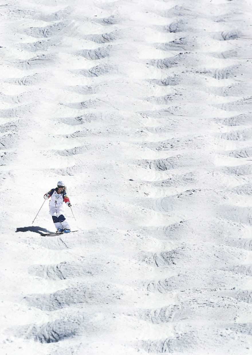 Lane Stoltzner skis down the Voo Doo moguls run at Steamboat Ski Area in Steamboat Springs during the 2015 U.S. Freestyle Skiing National Championships.