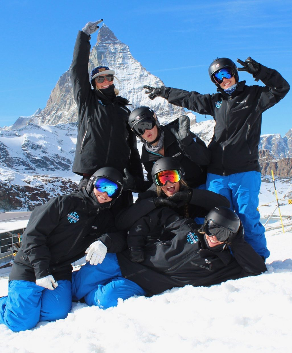 The Steamboat Springs Winter Sports Club's high-performance moguls team poses with the Matterhorn during a training camp in Switzerland last month. The squad, led by coach Kate Blamey, has five women, all harboring dreams of making it to the U.S. Ski Team.