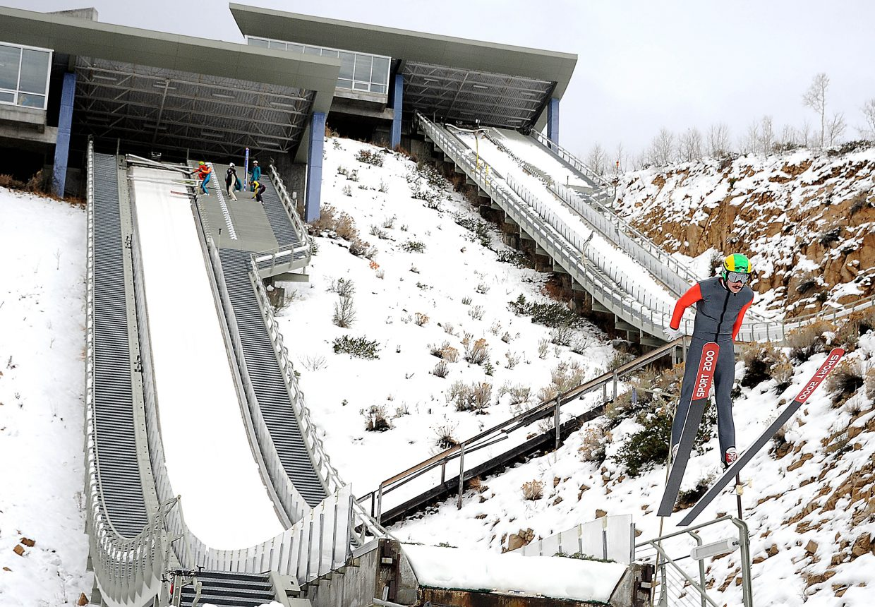 Brett Denney leaps from the ski jump in Park City, Utah. Denney, a Steamboat Springs skier, is hoping to make his first Olympic team in February.
