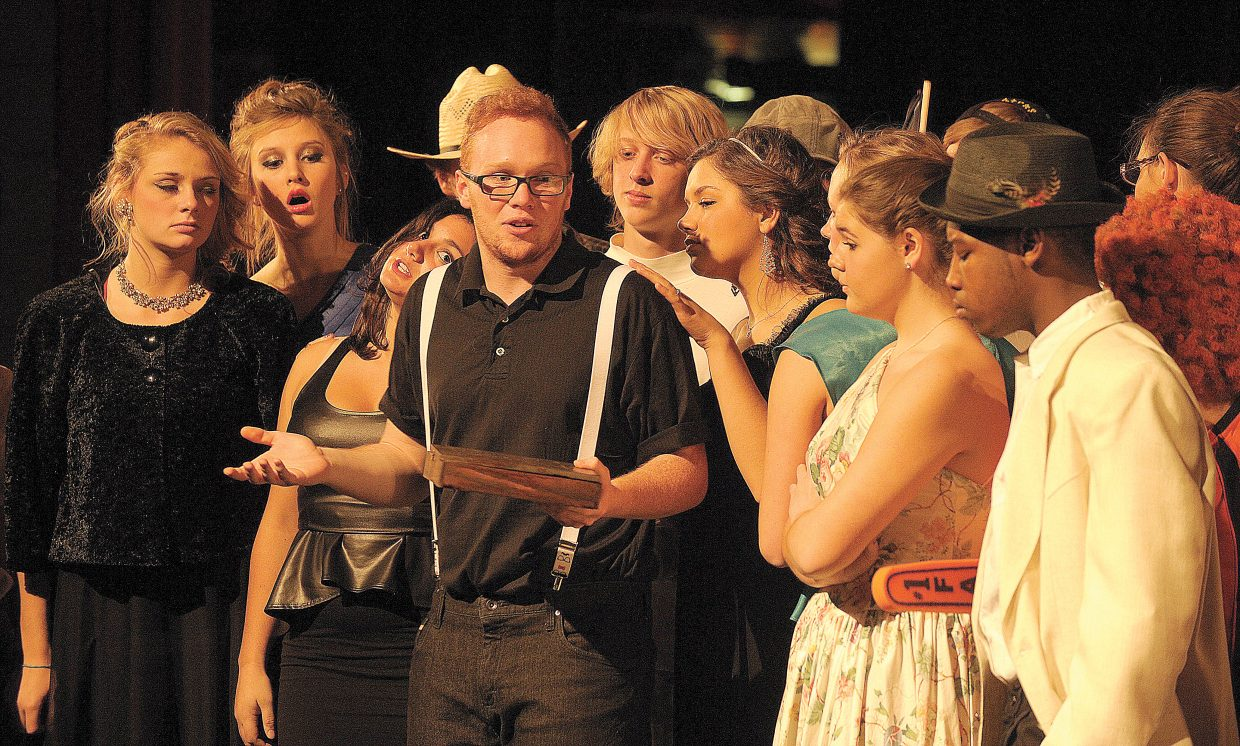 """Kris Kolvereid plays the part of the Inspector on Wednesday evening during a rehearsal for Steamboat Springs High School's production of """"Murder In the Knife Room."""""""