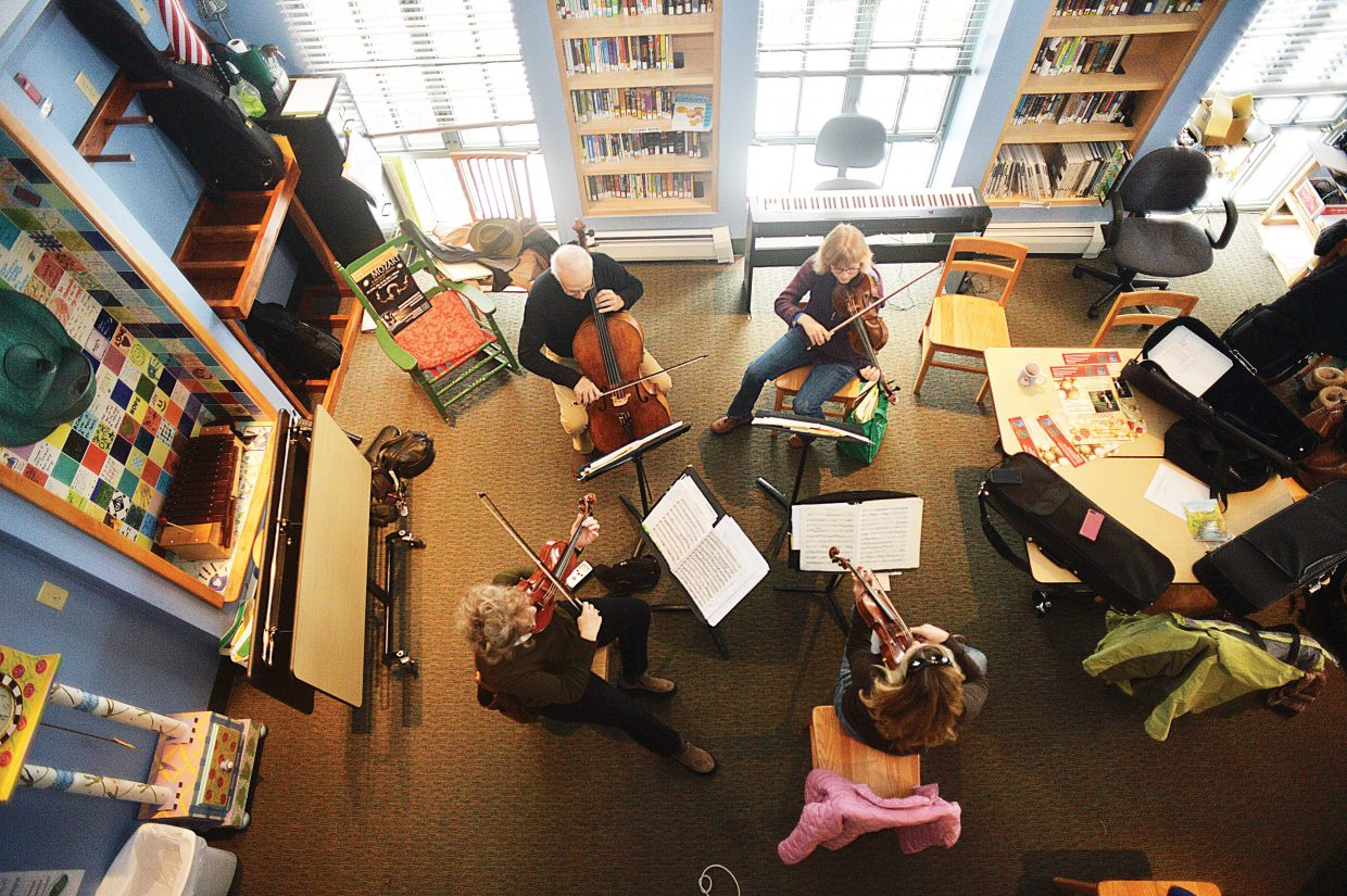"""The Steamboat String Quartet rehearses for this weekend's """"An Evening with Mozart."""" The show is scheduled for 7 p.m. Friday and Saturday at the Depot Art Center."""