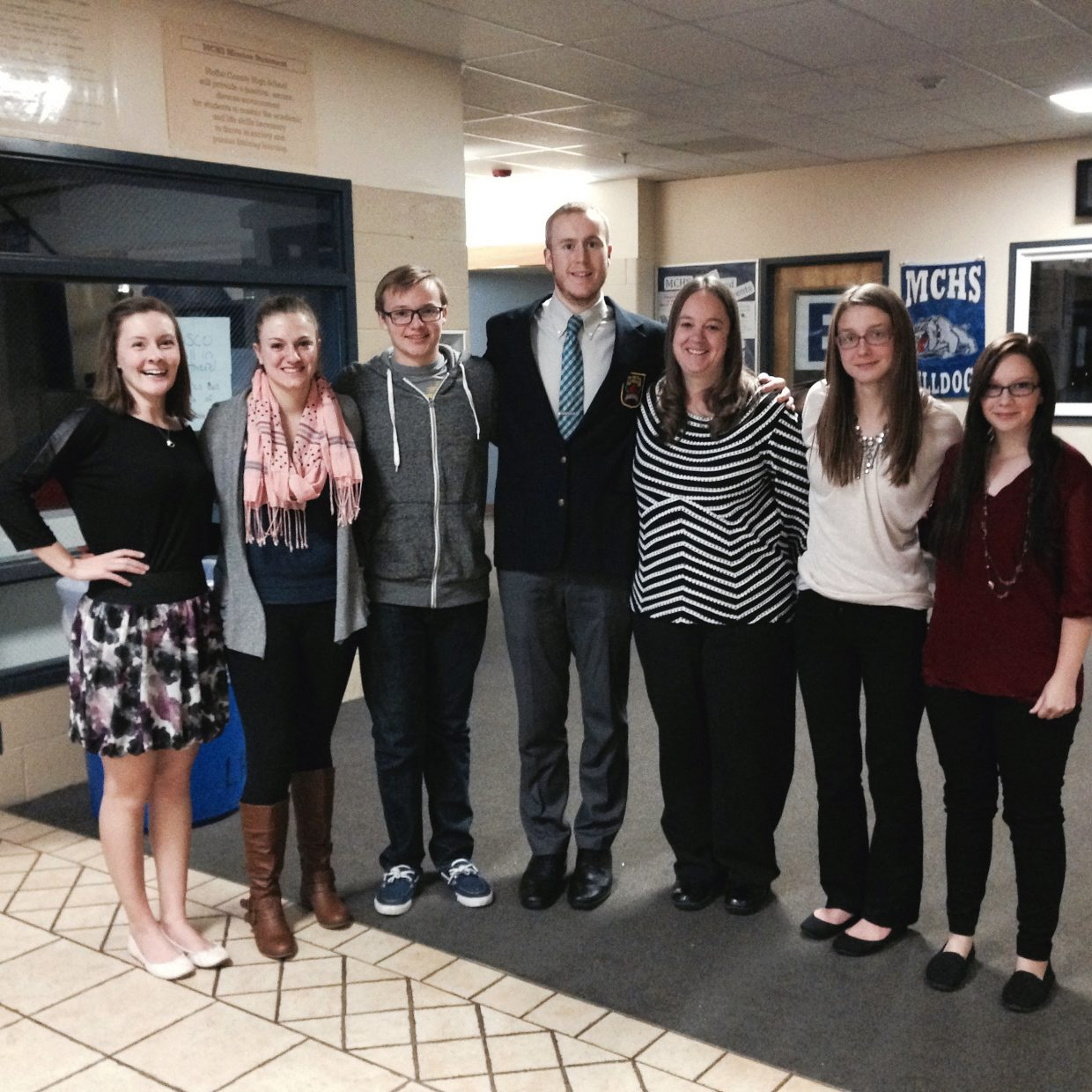 The members of Moffat County High School's DECA and Future Business Leaders of America teams convene with adviser Krista Schenck before a Wednesday workshop open to community members to learn about job interview skills, resume building and other tools necessary when seeking employment.