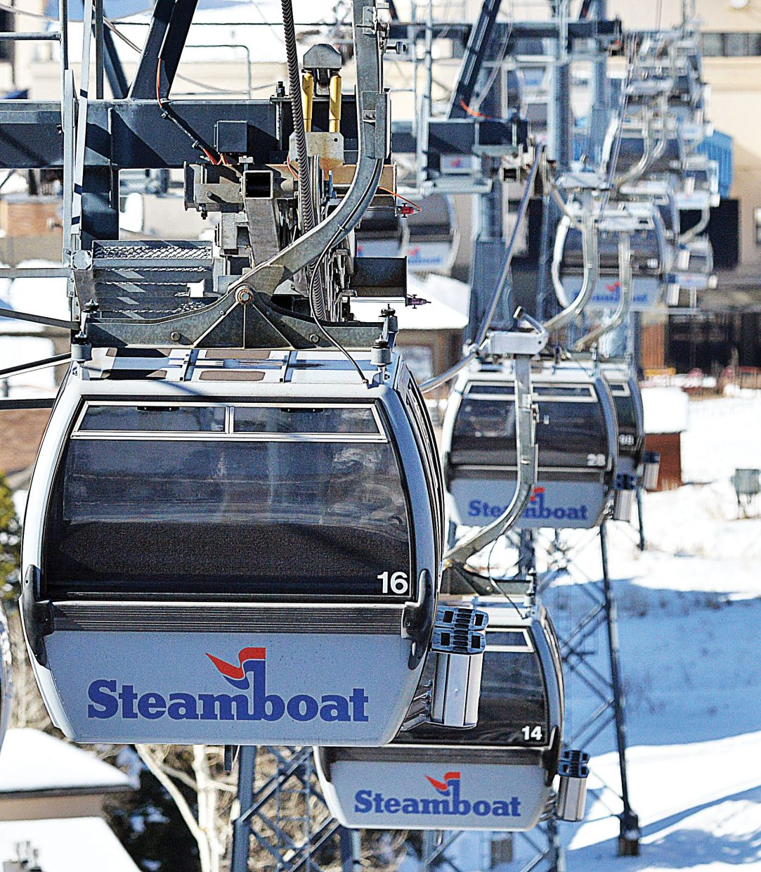 Gondola cars run from the base area to mid-mountain Friday as Steamboat Ski Area prepares for next week's opening day. On Friday, Bill Jensen, CEO of Intrawest, announced his resignation. Intrawest, the parent company of Steamboat Ski Area, said Jensen will be replaced by Tom Marano, a veteran in the mortgage industry.