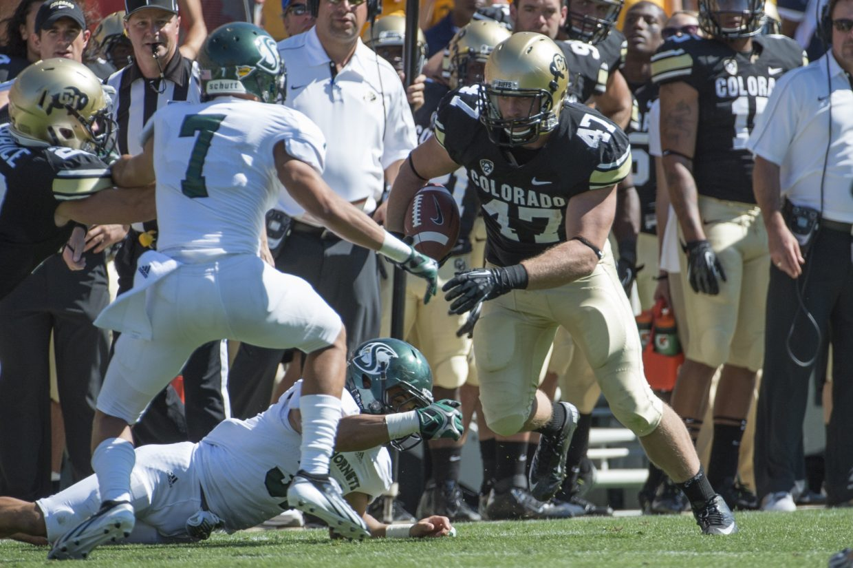 Former Steamboat Springs High School graduate Alex Wood plays in a game for the University of Colorado. Wood will wrap up his football career with CU on Saturday as the Buffaloes play host to USC in Boulder.