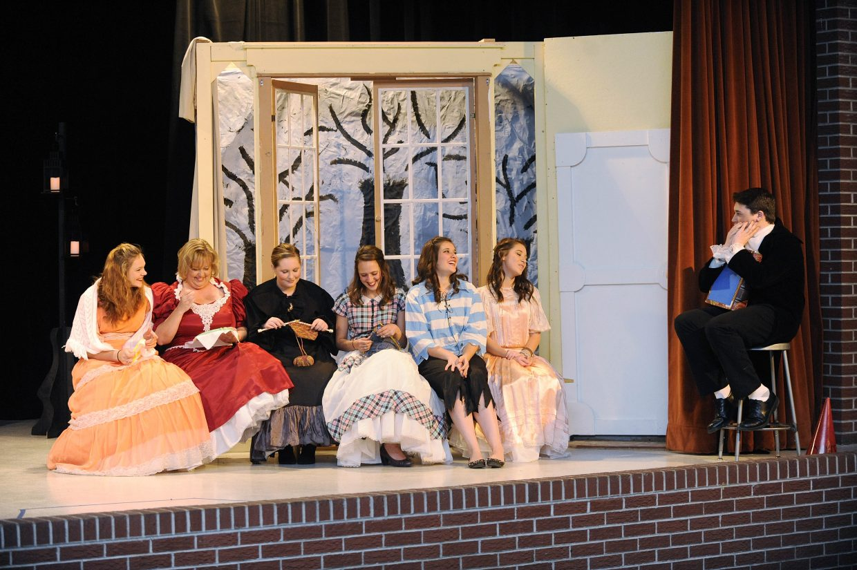 """Members of the Hayden High School drama department rehearse Friday for this weekend's performances of """"The Legend of Sleepy Hollow."""" The play is at 7 p.m. Saturday and 1:30 p.m. Sunday. Tickets are $5 for students and $7 for adults. Pictured from left are Kara Cozzens, Sondra Boyd, Zoe Flannery, Kendra DeMicco, Tyanna Zabel, Neylan Wheat and Dylan Munden."""