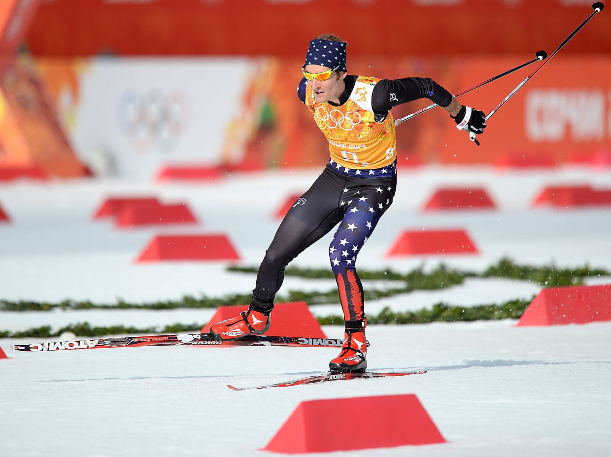 Taylor Fletcher skis in February at the 2014 Winter Olympics in Krasnaya Polyana, Russia. The U.S. Nordic combined team is back in action for the next season this week, competing at the season's first World Cup in Finland.