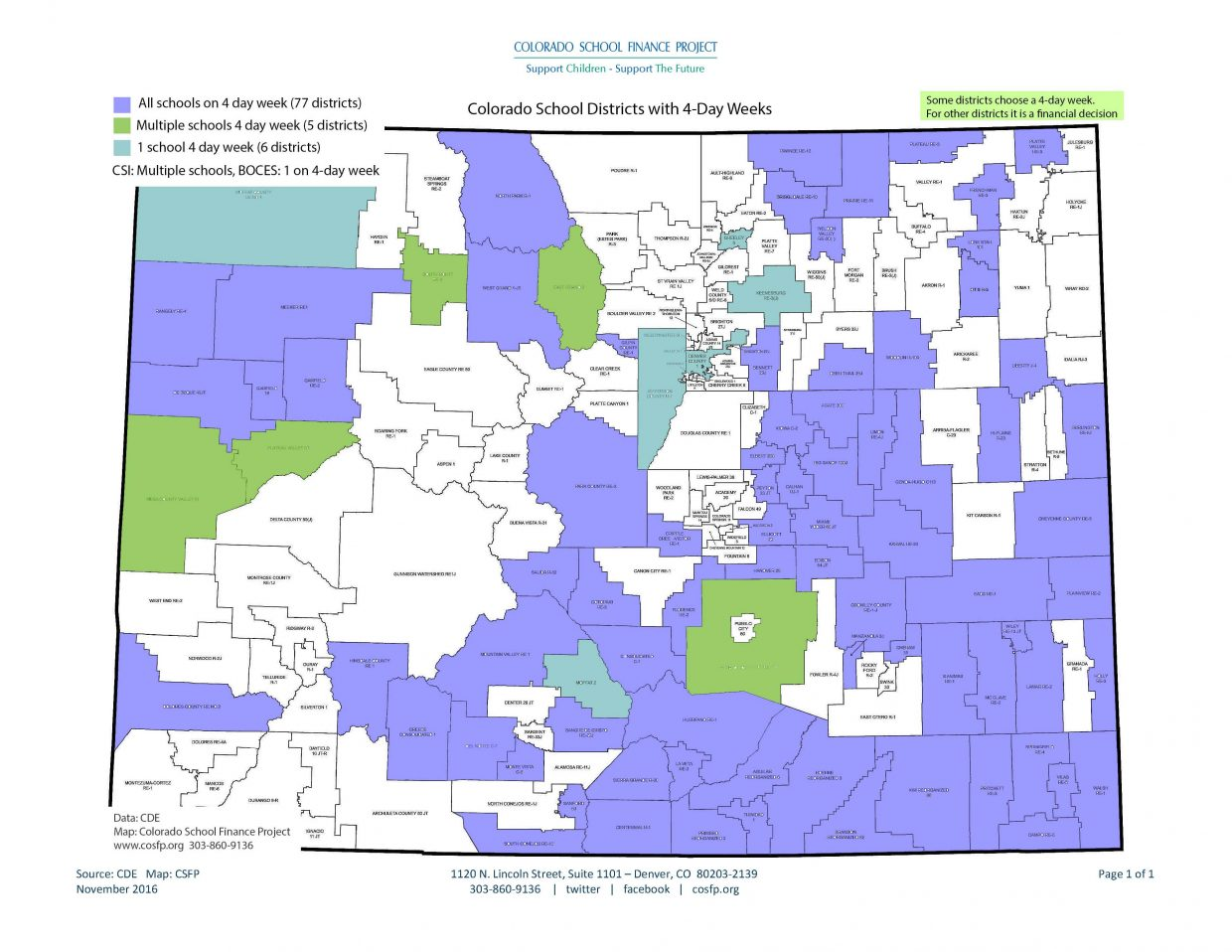 This graphic from the Colorado School Finance Project shows how many school districts across the state use four-day weeks.