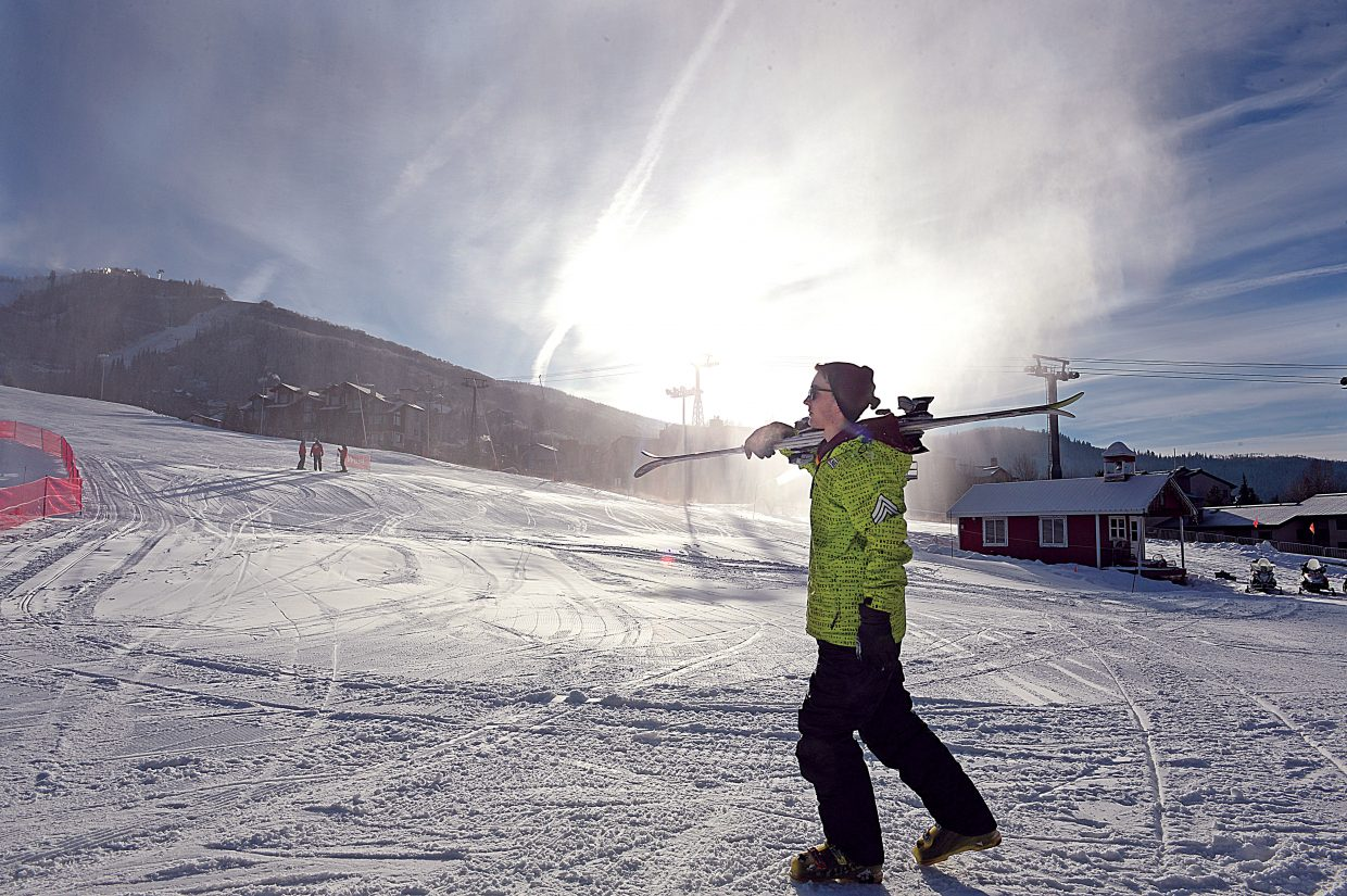 Skier Tim Larson heads toward the Christy Peak Express lift during Wednesday's Scholarship Day. Scholarship Day marks the start of the 2016-17 ski season at Steamboat Ski Area with proceeds going to the Steamboat Springs Winter Sports Club's scholarship programs.
