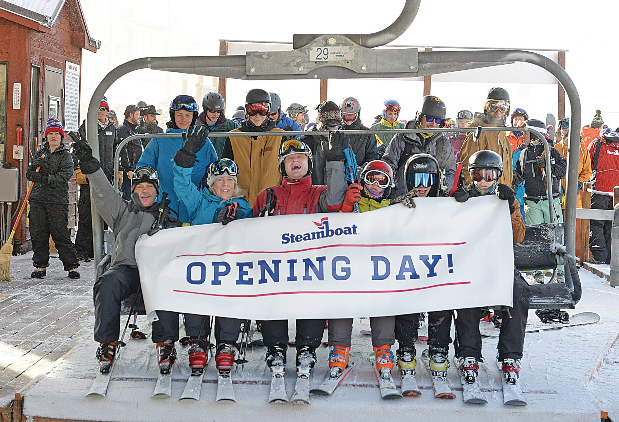 The first skiers of the year head up the Christy Peak Express Wednesday morning as part of Steamboat Ski Area's annual Scholarship Day.