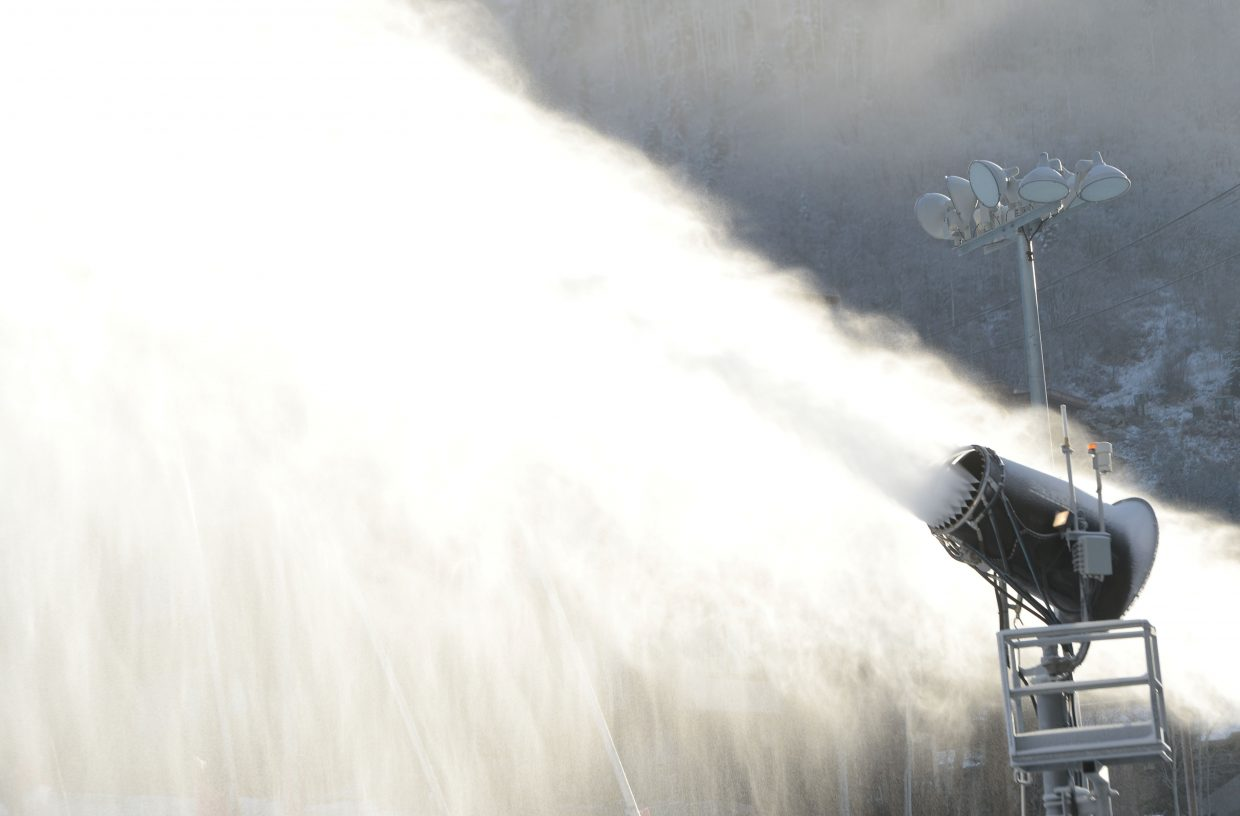 Skiers and snowboarders should give thanks to the snowmaking crews and snow guns that made this year's Scholarship Day at Steamboat Ski Area possible. The guns continued to blow snow Wednesday morning, even as skier and snowboarders arrived for opening day.