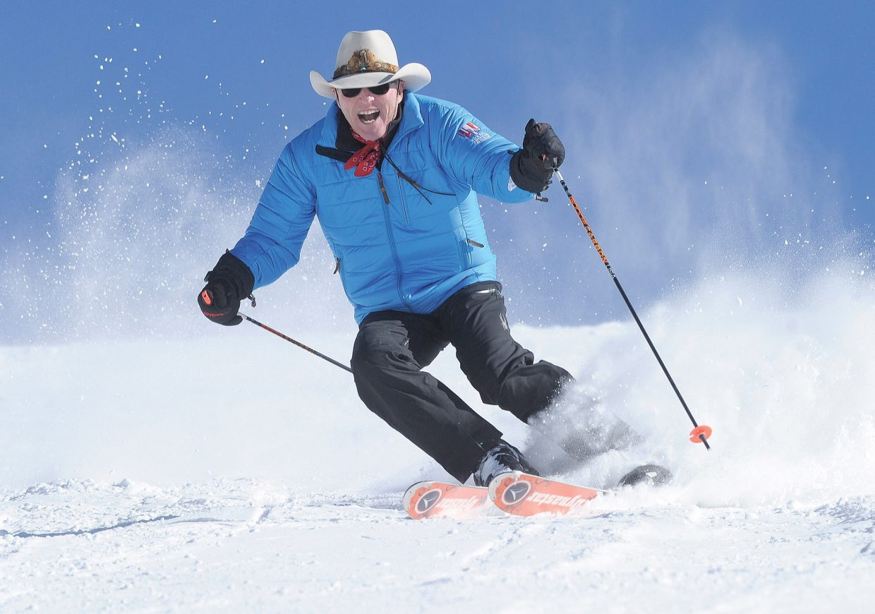 Steamboat Springs skier and Olympic silver medalist Billy Kidd takes a run Tuesday at Steamboat Ski Area. The ski area is scheduled to open at 8:30 a.m. Wednesday for Scholarship Day when tickets for the upper mountain are $30 and for the lower mountain are $20. The money raised will benefit the Steamboat Springs Winter Sports Club's scholarship program.
