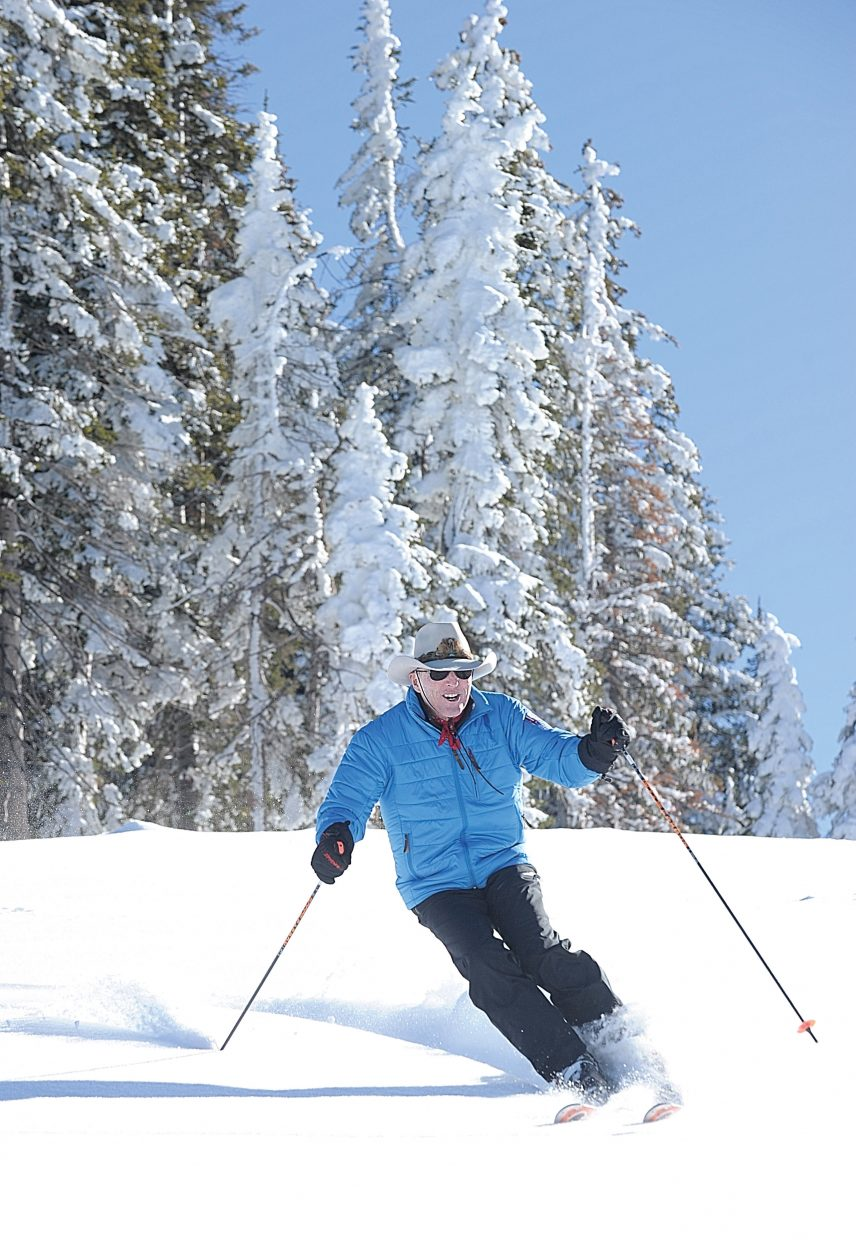 Steamboat Springs' skier, and former Olympic silver medalist, Billy Kidd takes a run at the Steamboat Ski Area prior to Wednesday's opening day. The Steamboat Ski Area is scheduled to open Wednesday with Scholarship Day. Skiers and snowboarders can access the upper trails by purchasing a $30 lift ticket, or can chose to access the lower mountain with a $20 lift ticket. The money raised will benefit the Steamboat Springs Winter Sports Club's scholarship program.
