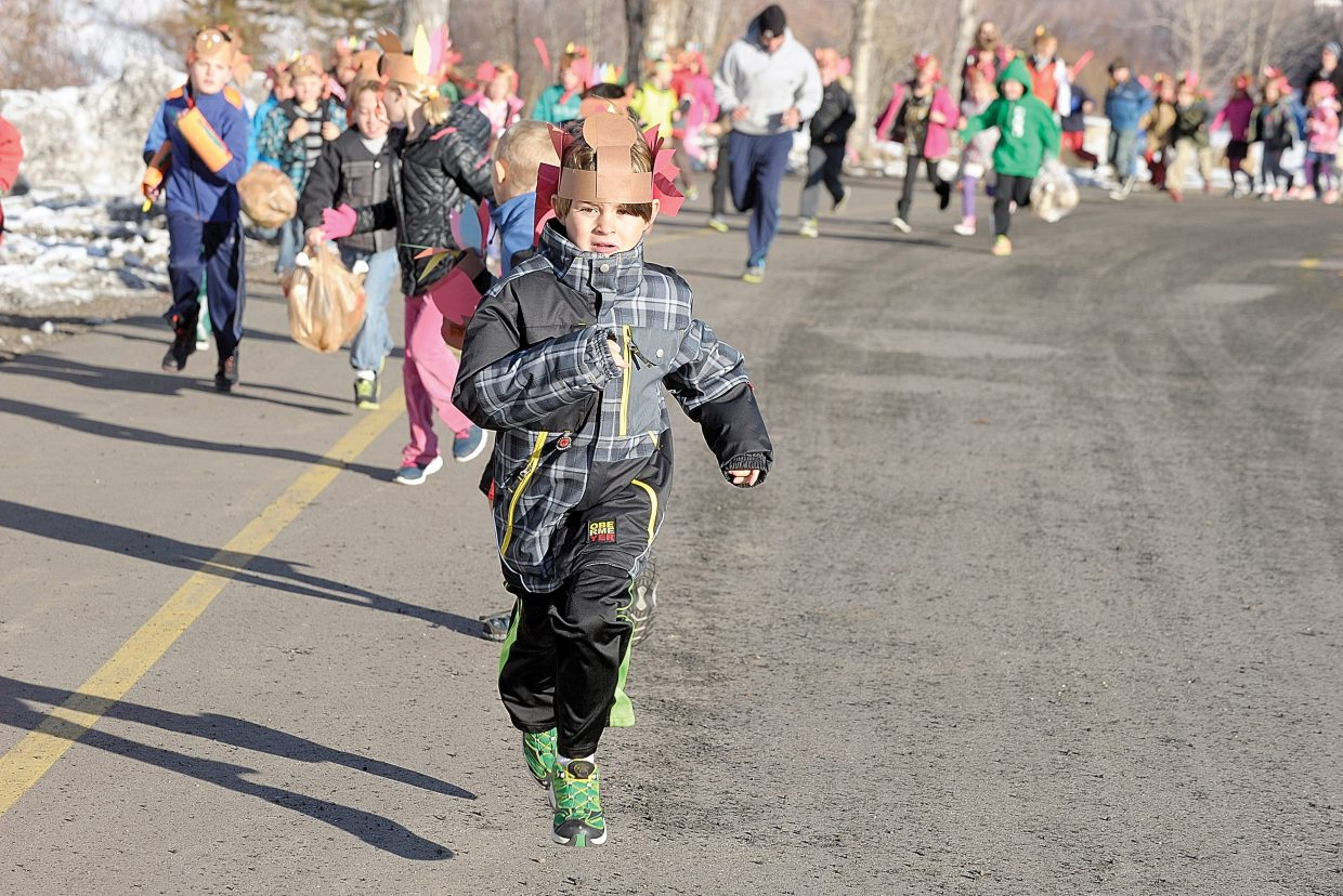 Dylan Gormley makes tracks during Turkey Trot on Tuesday morning at Strawberry Park Elementary School. The annual run gets students out and active on the final day before Thanksgiving break.