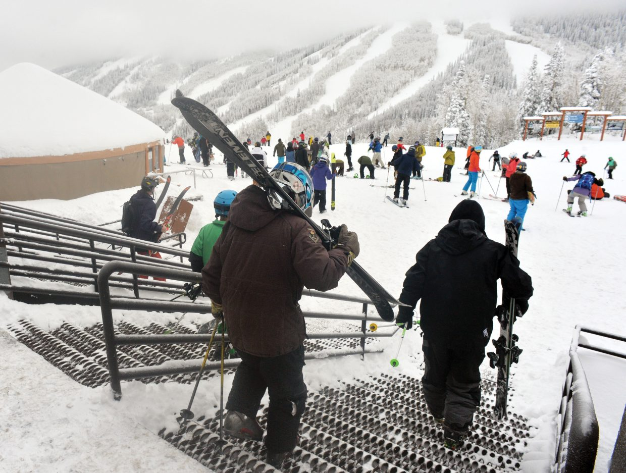 Skiers head for the slopes Wednesday for Steamboat Ski Area's Scholarship Day, a fundraiser for the Steamboat Springs Winter Sports Club's scholarship program.
