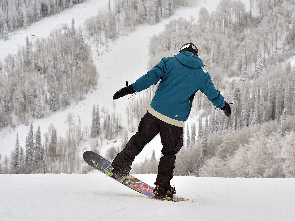 Snowboarder Evan Rehmann was pumped to make a few runs Wednesday at Steamboat Ski Area.