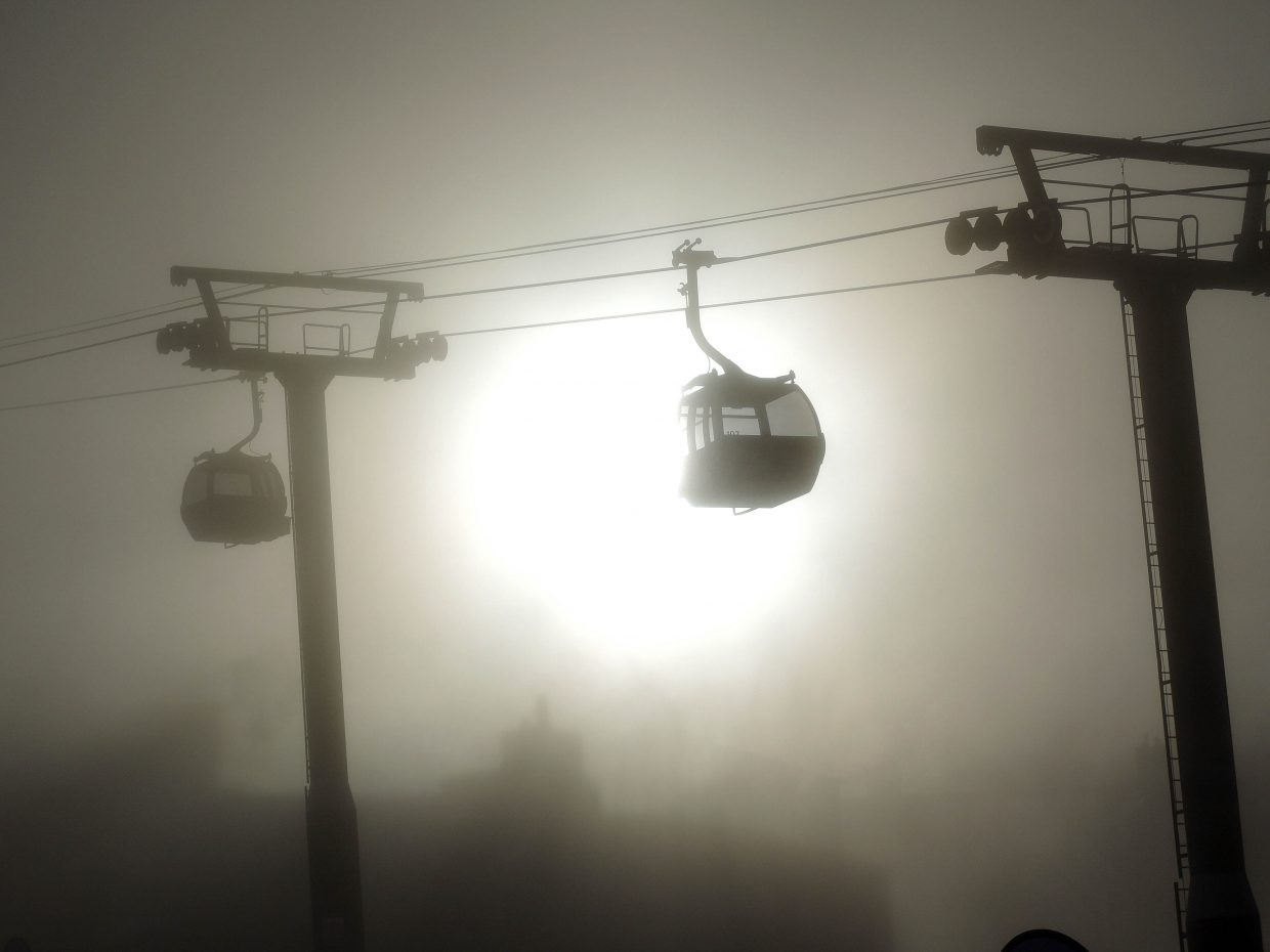 Sun shines through the fog Wednesday morning at Steamboat Ski Area.