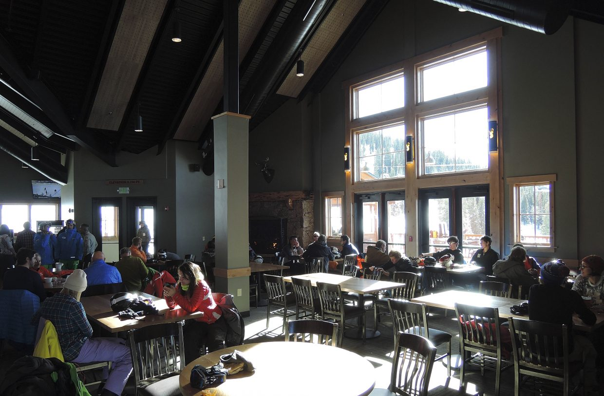 Sun shines into the new Four Points Lodge on Wednesday.