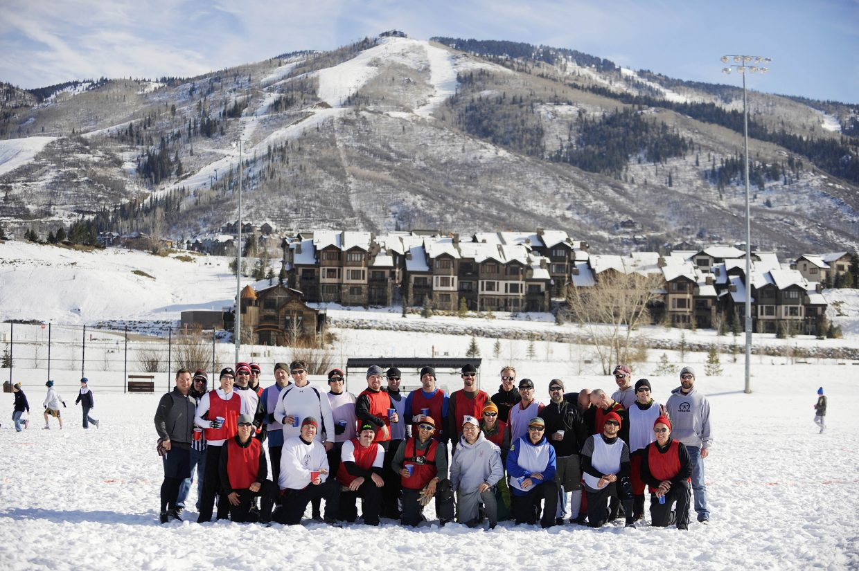 More than 30 men participated in the fourth annual Turkey Bowl on Thursday at Ski Town Fields.