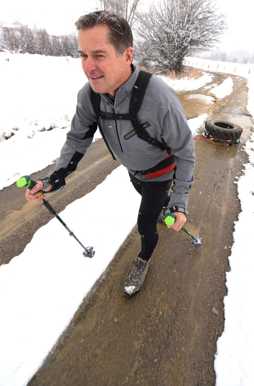 To train for his South Pole trek, Tumminello spent months dragging tires along the dirt roads near his North Routt County home.