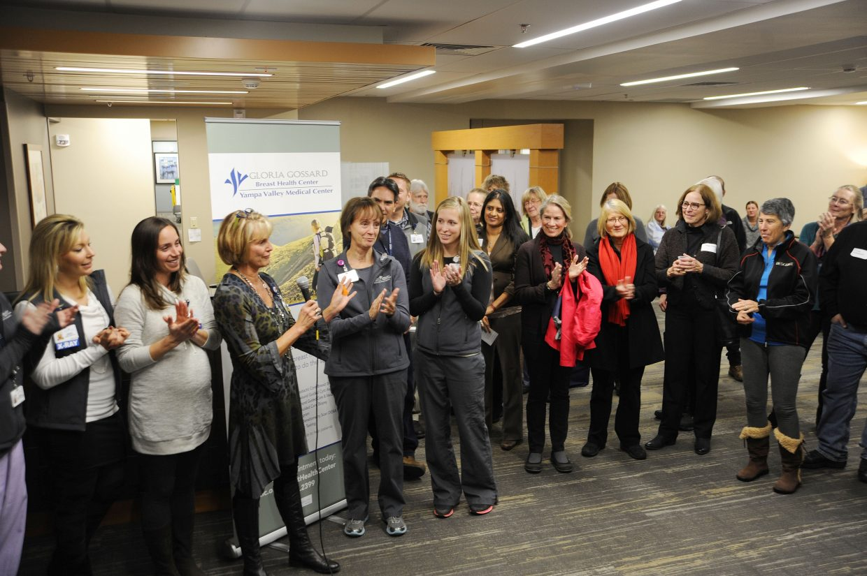 Radiology imaging director Mary Jo Wiedel chokes up while recognizing the staff at the Yampa Valley Medical Center Gloria Gossard Breast Health Center in Steamboat Springs. A grand opening ceremony for the center was held Tuesday night.