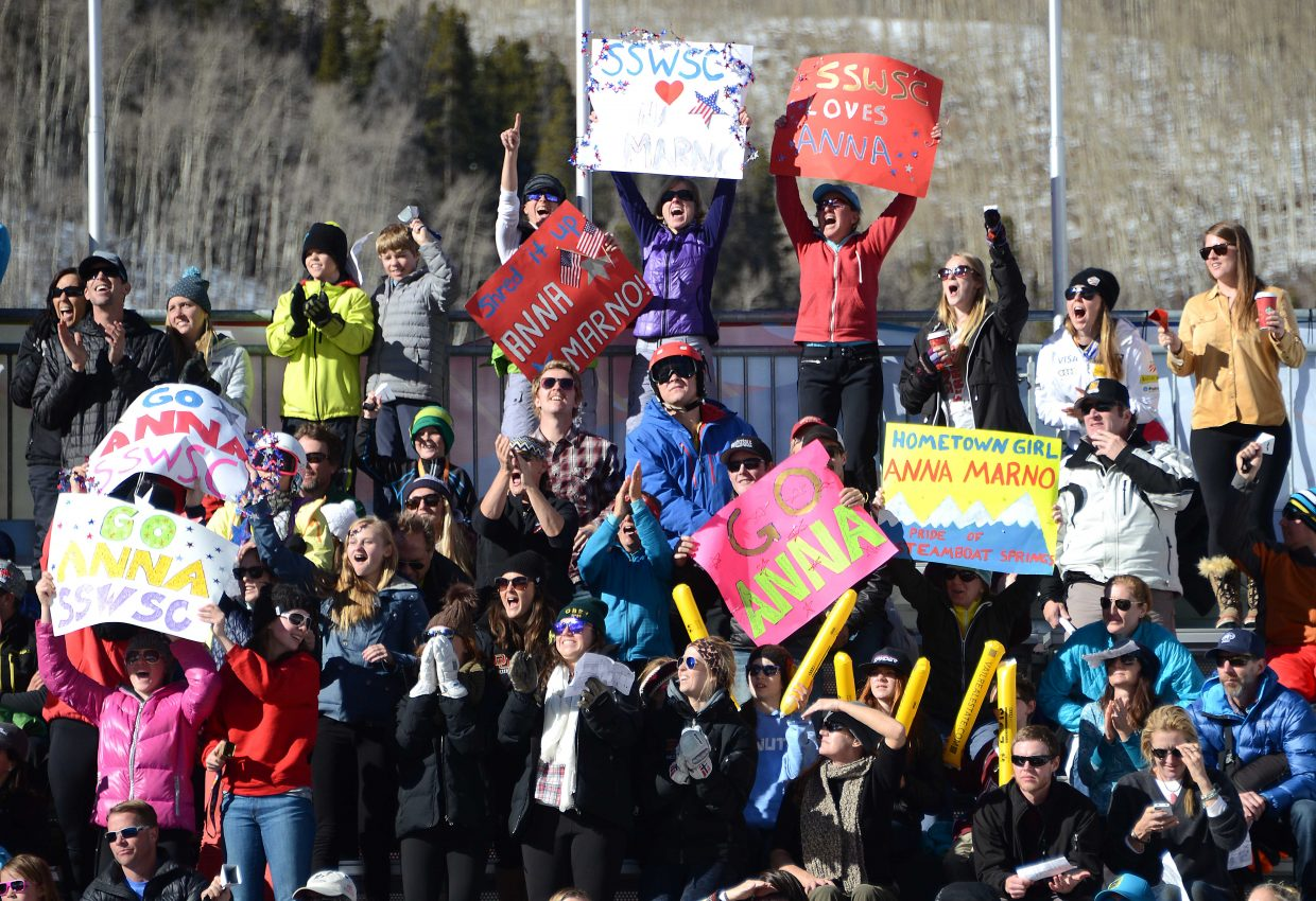 Friends and family cheer as Steamboat Springs skier Anna Marno pushes out of the start gate Saturday in Beaver Creek.