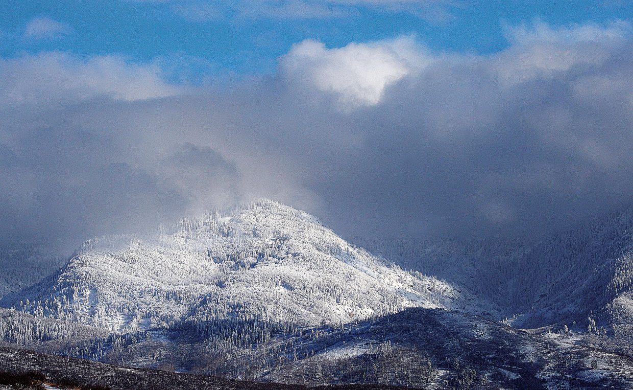 A fresh layer of snow covered the mountains surrounding Steamboat Springs Wednesday afternoon.