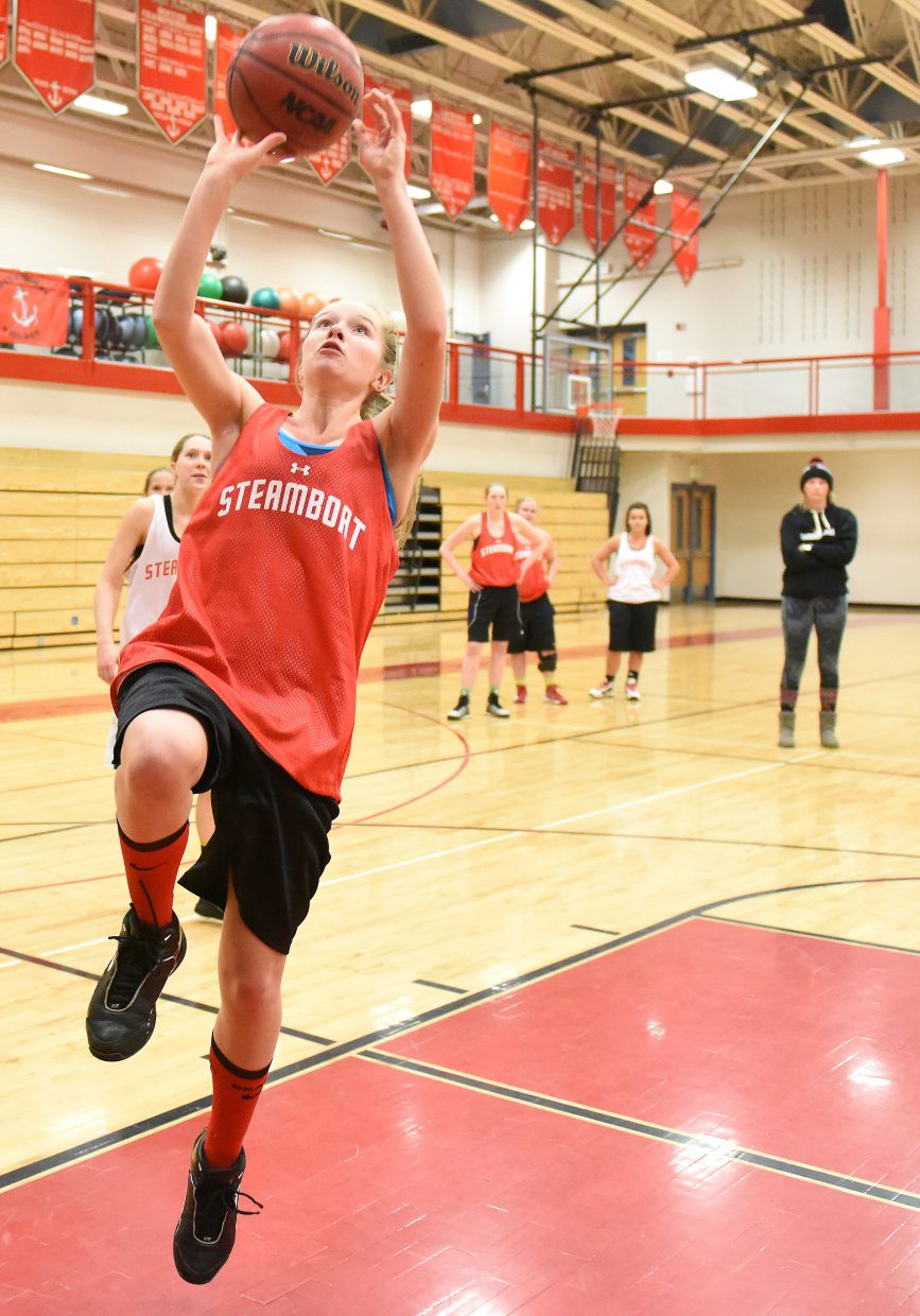 Steamboat sophomore Erica Moos goes up for a layup Tuesday during practice.
