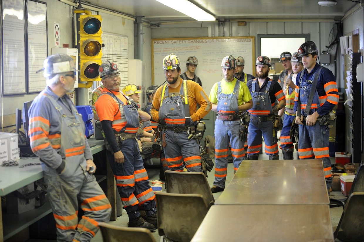 Coal miners assemble at the beginning of a shift at Twentymile Mine west of Steamboat Springs in 2013.