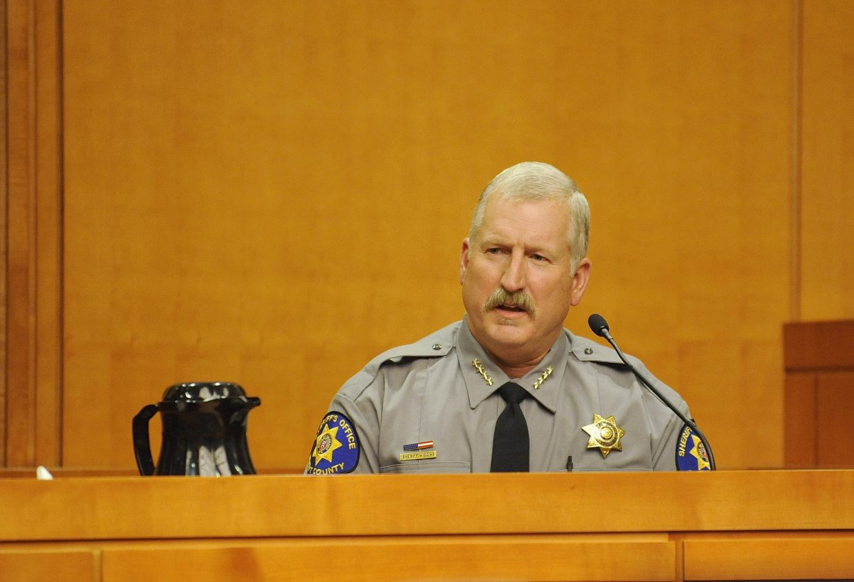 Routt County Sheriff Garrett Wiggins testifies during the first day of trial for Kristin Bantle, the former Steamboat Springs Police Department officer who was charged with felony attempt to influence a public servant. Bantle was exonerated of the charge.