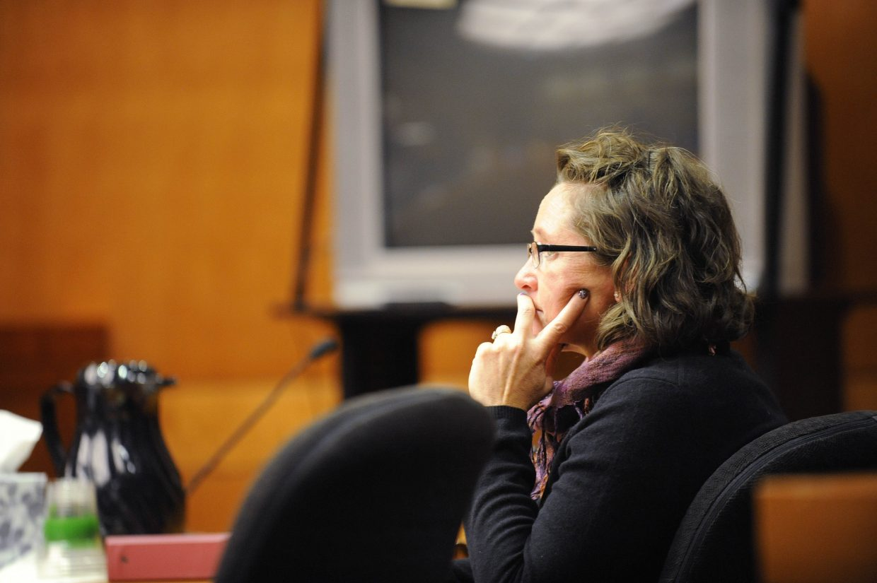 Former Steamboat Springs Police Department officer Kristin Bantle listens to testimony during her trial Tuesday.
