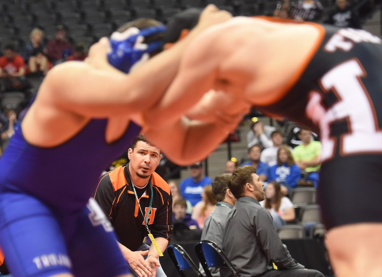 Hayden wrestling coach Chad Jones looks in on the action last spring at the state tournament in Denver. He's hoping to return to that showcase with a pack of eager wrestlers this year. The winter season starts Saturday for the Tigers as they make a trip to a tournament in Middle Park.