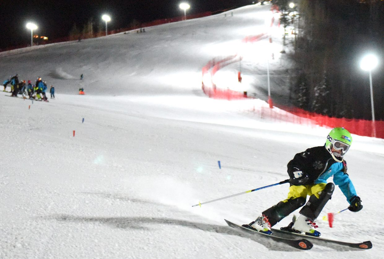 Caroline Gilchrist races down All Out, a new ski racing and training venue at Steamboat Ski Area. The trail played host to skiers under the lights for the first time on Thursday.