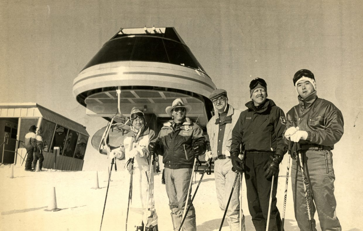 The Storm Peak Express chairlift opened Dec. 3 1992, with dignitaries in attendance. Kimihito Kamori (left) from the ski area's Japanese ownership group, Kamori Kanko International Limited, Billy Kidd, Alfred Fruehwirth of the Doppelmayr lift company, Ken Kowynia of the U.S. Forest Service and Kamori's representative in Steamboat, Masanaori Senno , were on the first chair to the top.