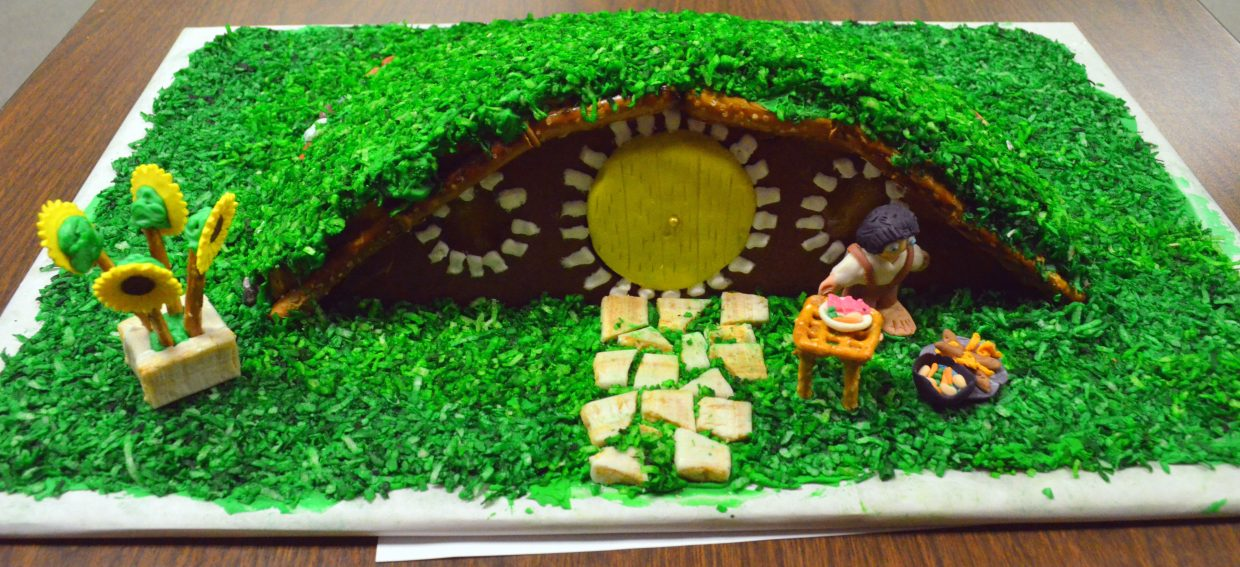 """Diane Calim's recreation of Bag End from """"The Hobbit"""" and """"The Lord of the Rings"""" won the adult category of the gingerbread house contest hosted by the Museum of Northwest Colorado and Downtown Business Association."""