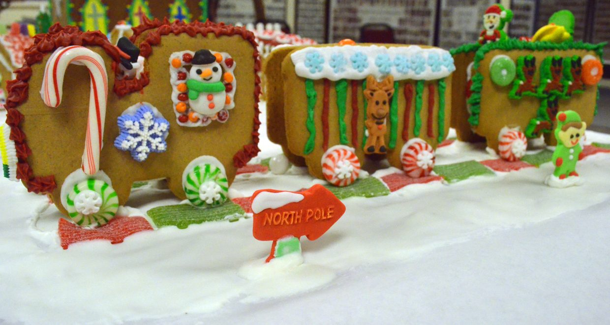 All aboard on Treyton Nottingham's gingerbread train as part of the gingerbread house contest hosted by the Museum of Northwest Colorado and Downtown Business Association.